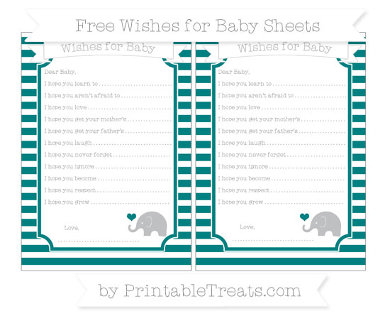 Free Teal Horizontal Striped Baby Elephant Wishes for Baby Sheets