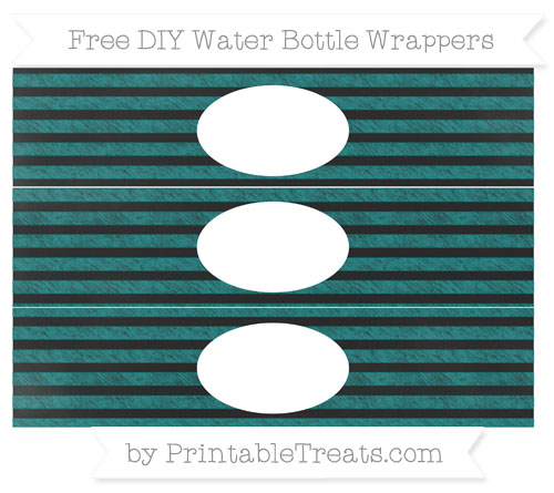 Free Teal Horizontal Striped Chalk Style DIY Water Bottle Wrappers