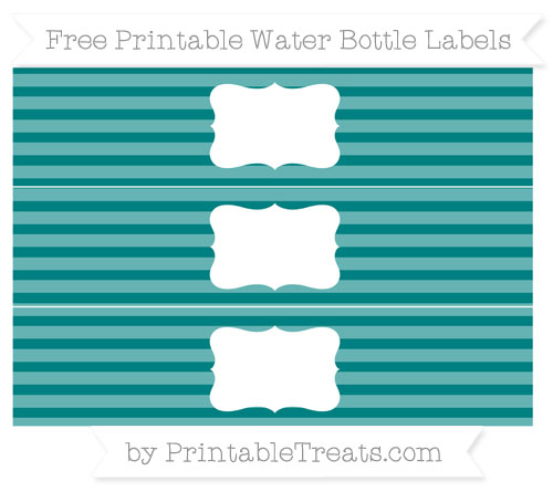 Free Teal Horizontal Striped Water Bottle Labels