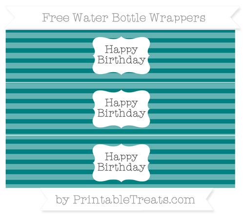 Free Teal Horizontal Striped Happy Birhtday Water Bottle Wrappers
