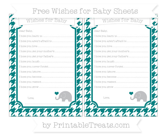 Free Teal Houndstooth Pattern Baby Elephant Wishes for Baby Sheets