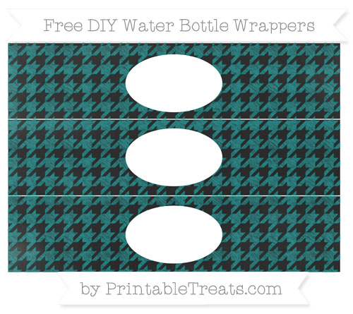 Free Teal Houndstooth Pattern Chalk Style DIY Water Bottle Wrappers