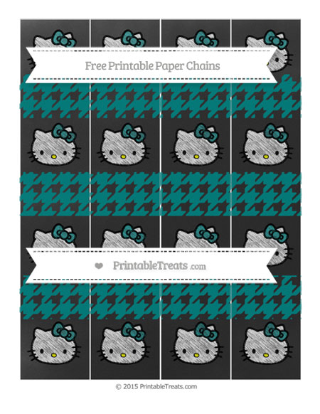 Free Teal Houndstooth Pattern Chalk Style Hello Kitty Paper Chains