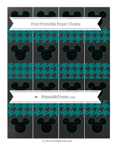 Free Teal Houndstooth Pattern Chalk Style Mickey Mouse Paper Chains