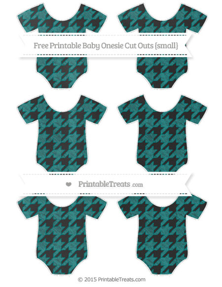 Free Teal Houndstooth Pattern Chalk Style Small Baby Onesie Cut Outs