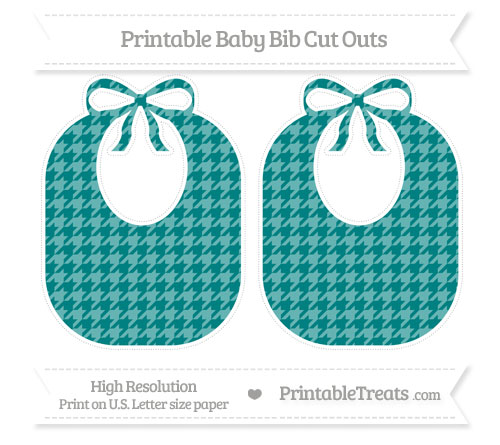 Free Teal Houndstooth Pattern Large Baby Bib Cut Outs