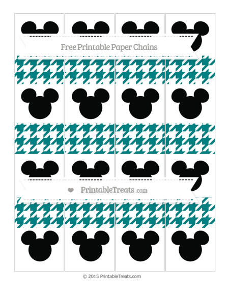 Free Teal Houndstooth Pattern Mickey Mouse Paper Chains