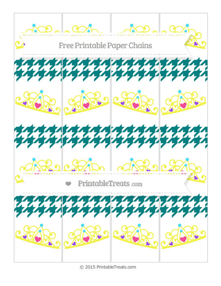 Free Teal Houndstooth Pattern Princess Tiara Paper Chains
