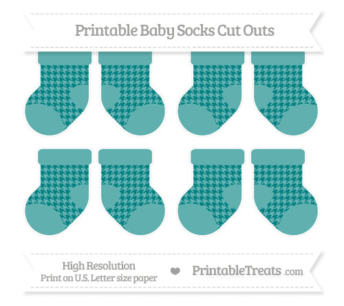 Free Teal Houndstooth Pattern Small Baby Socks Cut Outs