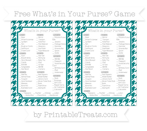 Free Teal Houndstooth Pattern What's in Your Purse Baby Shower Game