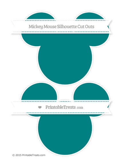 Free Teal Large Mickey Mouse Silhouette Cut Outs