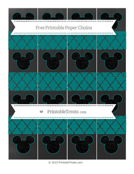 Free Teal Moroccan Tile Chalk Style Mickey Mouse Paper Chains