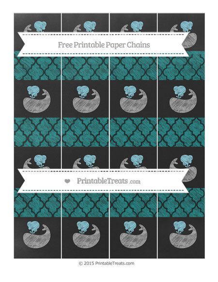 Free Teal Moroccan Tile Chalk Style Whale Paper Chains