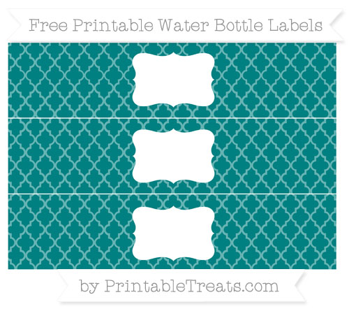 Free Teal Moroccan Tile Water Bottle Labels