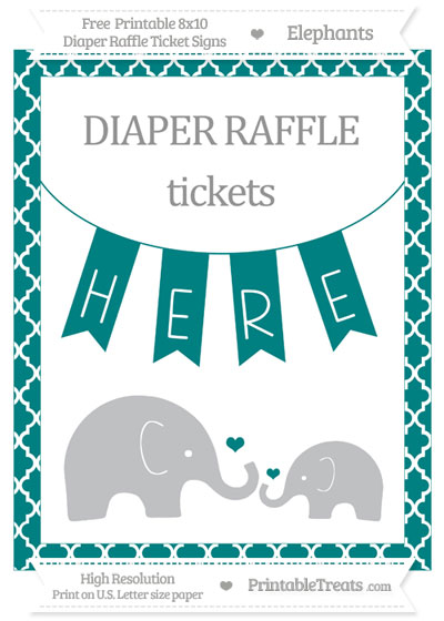 Free Teal Moroccan Tile Elephant 8x10 Diaper Raffle Ticket Sign