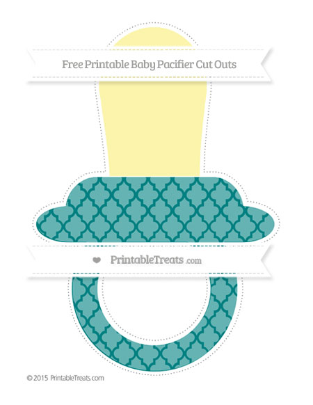 Free Teal Moroccan Tile Extra Large Baby Pacifier Cut Outs