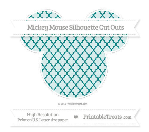 Free Teal Moroccan Tile Extra Large Mickey Mouse Silhouette Cut Outs
