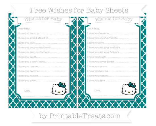 Free Teal Moroccan Tile Hello Kitty Wishes for Baby Sheets
