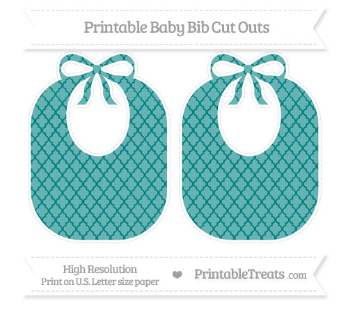 Free Teal Moroccan Tile Large Baby Bib Cut Outs