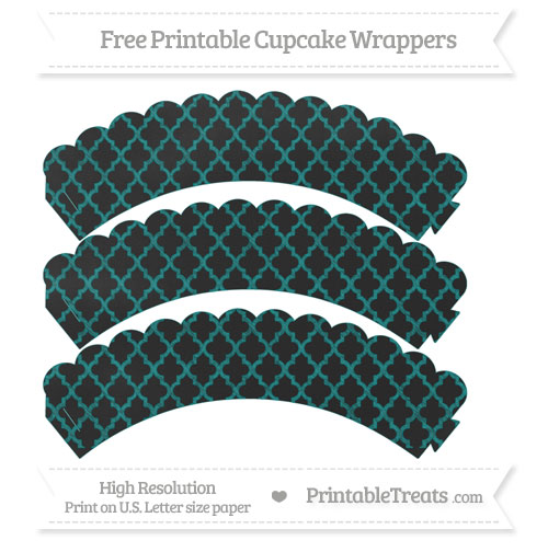 Free Teal Moroccan Tile Pattern Chalk Style Scalloped Cupcake Wrappers