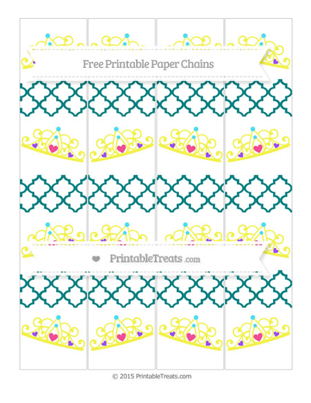 Free Teal Moroccan Tile Princess Tiara Paper Chains