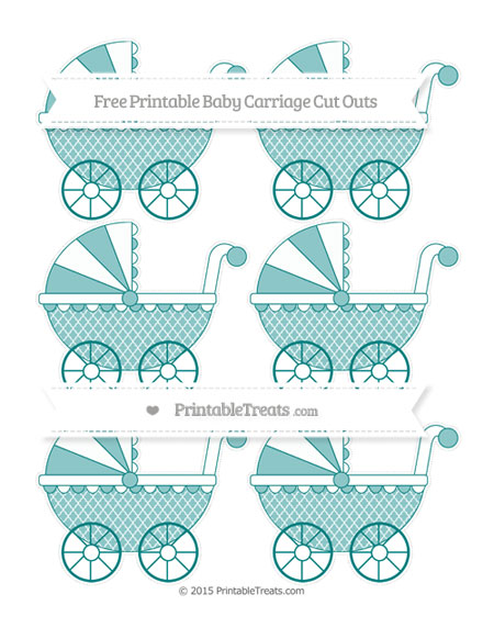 Free Teal Moroccan Tile Small Baby Carriage Cut Outs