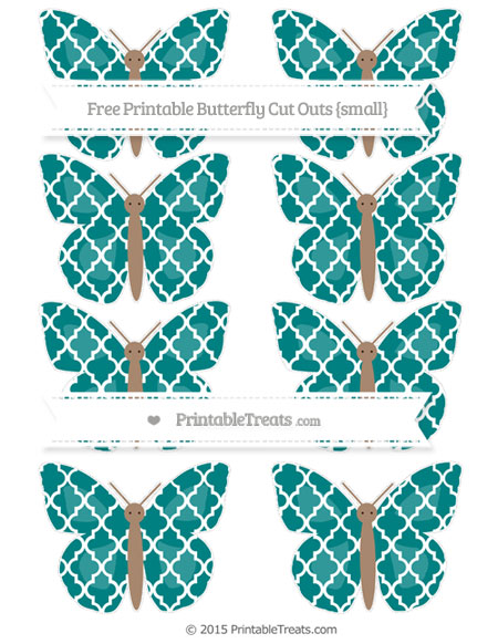 Free Teal Moroccan Tile Small Butterfly Cut Outs