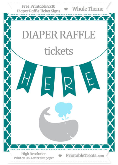 Free Teal Moroccan Tile Whale 8x10 Diaper Raffle Ticket Sign