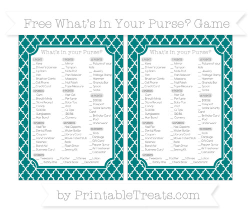 Free Teal Moroccan Tile What's in Your Purse Baby Shower Game