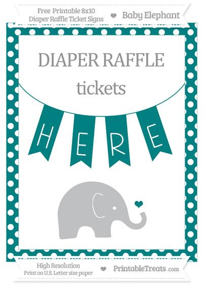 Free Teal Polka Dot Baby Elephant 8x10 Diaper Raffle Ticket Sign