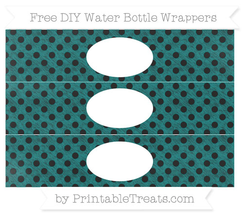Free Teal Polka Dot Chalk Style DIY Water Bottle Wrappers
