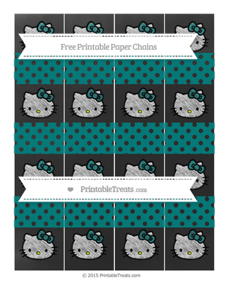 Free Teal Polka Dot Chalk Style Hello Kitty Paper Chains