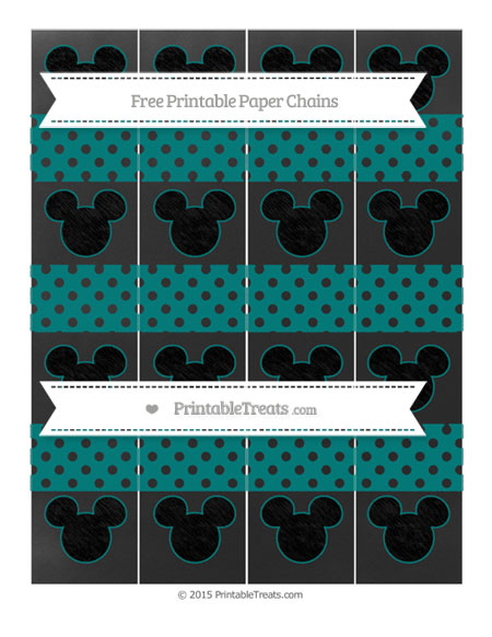 Free Teal Polka Dot Chalk Style Mickey Mouse Paper Chains