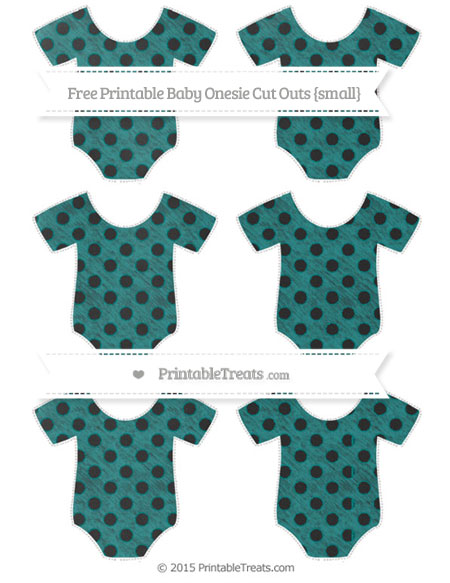 Free Teal Polka Dot Chalk Style Small Baby Onesie Cut Outs