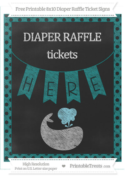 Free Teal Polka Dot Chalk Style Whale 8x10 Diaper Raffle Ticket Sign