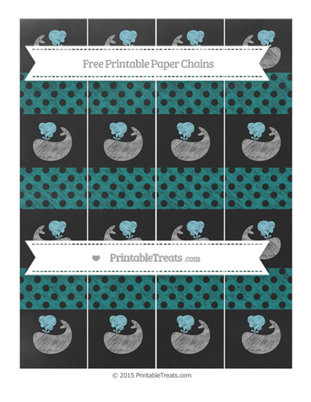 Free Teal Polka Dot Chalk Style Whale Paper Chains
