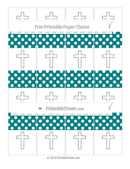 Free Teal Polka Dot Cross Paper Chains