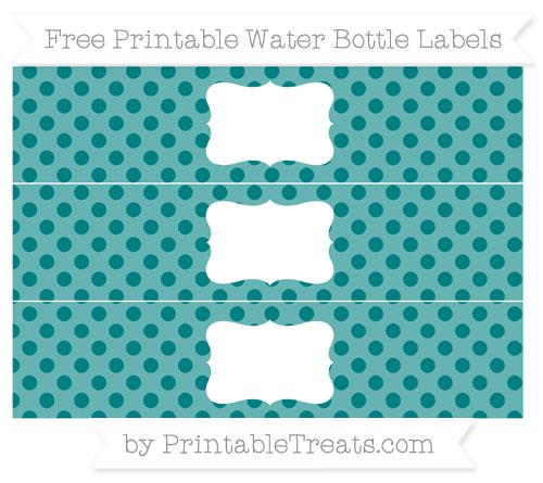 Free Teal Polka Dot Water Bottle Labels