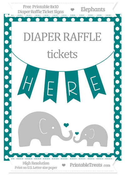 Free Teal Polka Dot Elephant 8x10 Diaper Raffle Ticket Sign