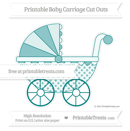 Free Teal Polka Dot Extra Large Baby Carriage Cut Outs
