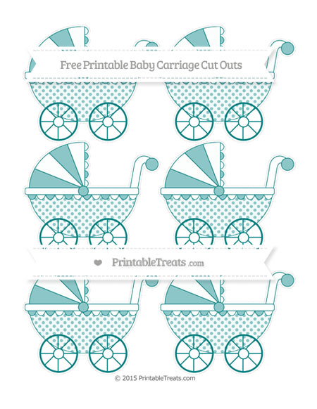Free Teal Polka Dot Small Baby Carriage Cut Outs