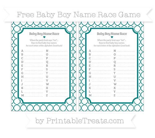 Free Teal Quatrefoil Pattern Baby Boy Name Race Game