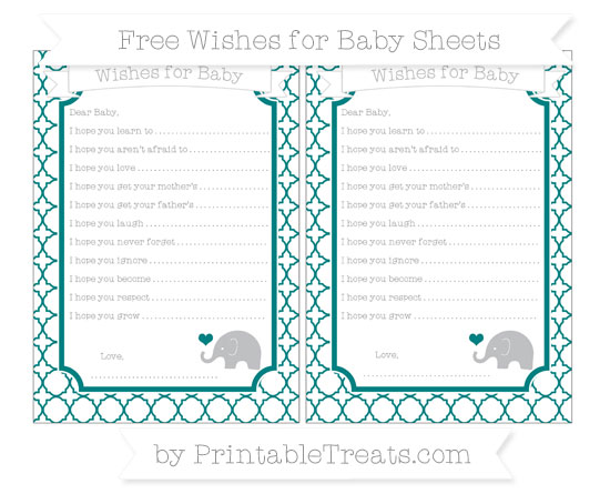 Free Teal Quatrefoil Pattern Baby Elephant Wishes for Baby Sheets