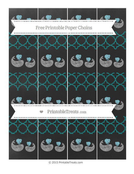 Free Teal Quatrefoil Pattern Chalk Style Baby Whale Paper Chains