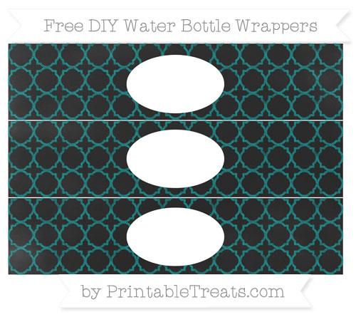 Free Teal Quatrefoil Pattern Chalk Style DIY Water Bottle Wrappers