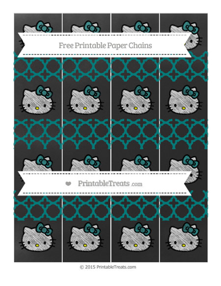 Free Teal Quatrefoil Pattern Chalk Style Hello Kitty Paper Chains