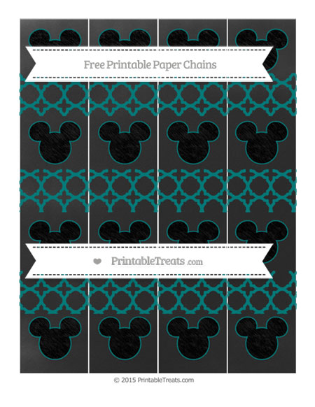 Free Teal Quatrefoil Pattern Chalk Style Mickey Mouse Paper Chains