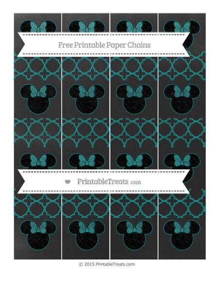 Free Teal Quatrefoil Pattern Chalk Style Minnie Mouse Paper Chains