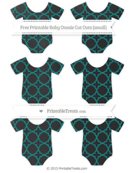 Free Teal Quatrefoil Pattern Chalk Style Small Baby Onesie Cut Outs