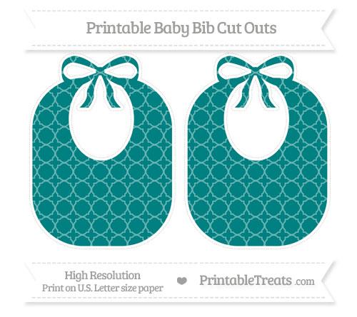 Free Teal Quatrefoil Pattern Large Baby Bib Cut Outs